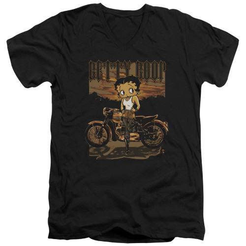 Image for Betty Boop V Neck T-Shirt - Rebel Rider