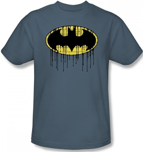 Image for Batman T-Shirt - Dripping Brick Wall Shield Logo