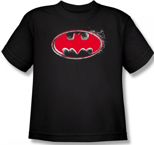Image for Batman Youth T-Shirt - Hardcore Noir Bat Logo