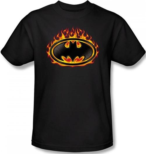 Image Closeup for Batman T-Shirt - Bat Flames Shield Logo
