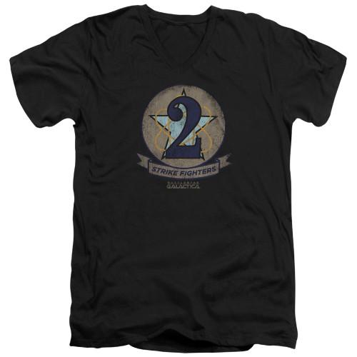 Image for Battlestar Galactica V Neck T-Shirt - Strike Fighter Badge
