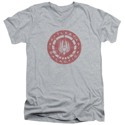 Image for Battlestar Galactica V Neck T-Shirt - Eroded Logo