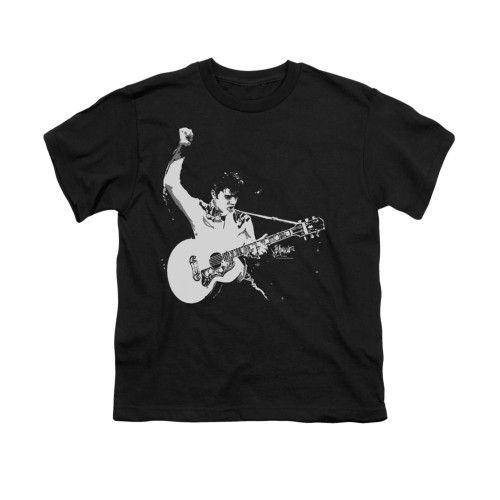 Image for Elvis Youth T-Shirt - Black & White Guitarman