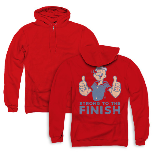 Image for Popeye the Sailor Zip Up Back Print Hoodie - Strong