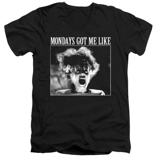 Image for Bride of Frankenstein V Neck T-Shirt - Mondays Got Me Like