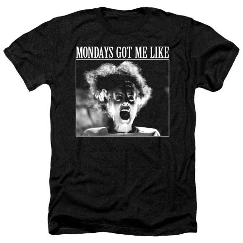 Image for Bride of Frankenstein Heather T-Shirt - Mondays Got Me Like