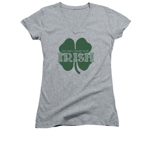 Image for Saint Patricks Day Girls V Neck T-Shirt - Lucky to be Irish