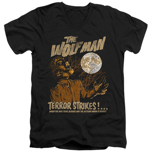 Image for The Wolfman V Neck T-Shirt - Terror Strikes
