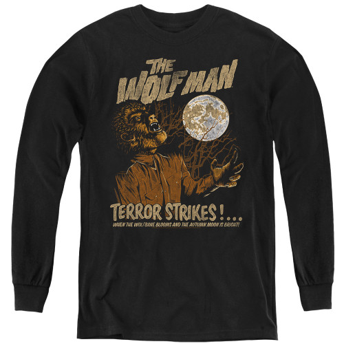 Image for The Wolfman Youth Long Sleeve T-Shirt - Terror Strikes