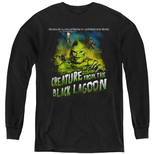 Image for The Creature From the Black Lagoon Youth Long Sleeve T-Shirt - Not Since the Beginning of Time
