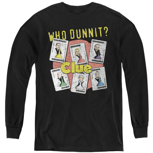 Image for Clue Youth Long Sleeve T-Shirt - Who Dunnit