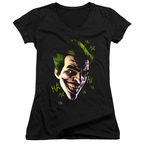 Image for Batman Girls V Neck T-Shirt - Joker Grim