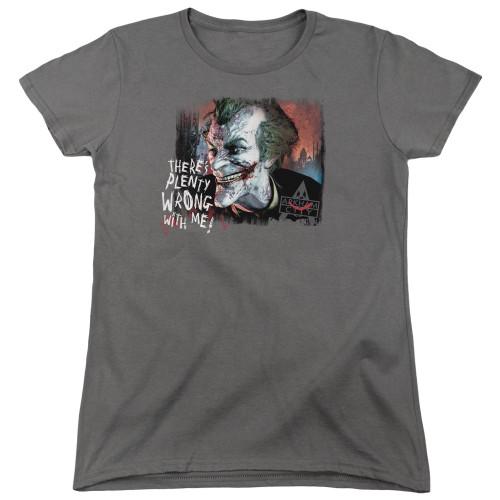 Image for Batman Womans T-Shirt - Joker Arkham City Plenty Wrong