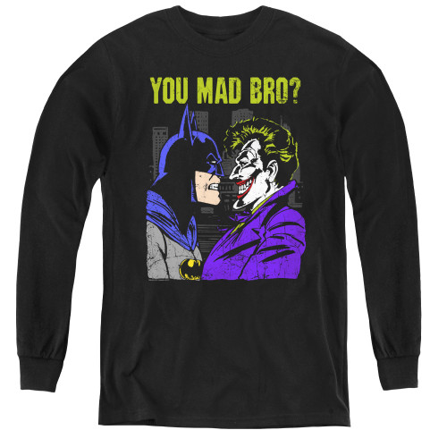 Image for Batman Youth Long Sleeve T-Shirt - Joker Mad Bro
