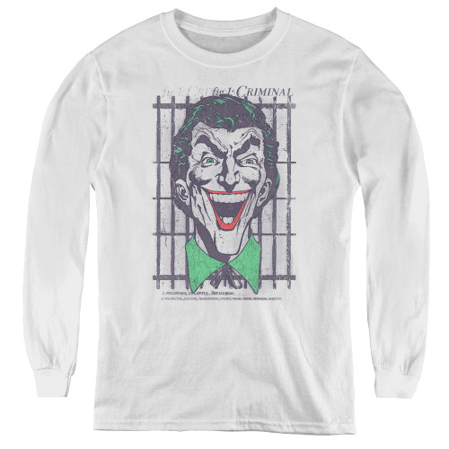 Image for Batman Youth Long Sleeve T-Shirt - Joker Criminal