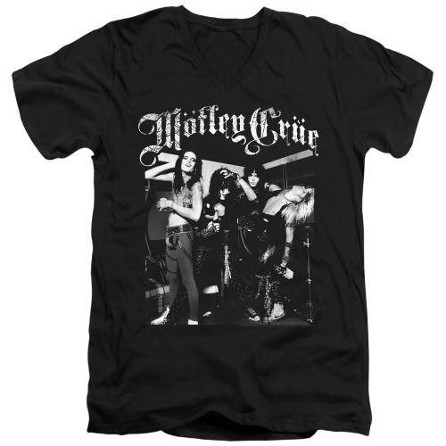 Image for Motley Crue V-Neck T-Shirt Band Photo