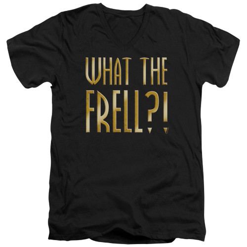 Image for Farscape V Neck T-Shirt - What the Frell