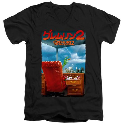Image for Gremlins V Neck T-Shirt - Gremlins 2 Poster
