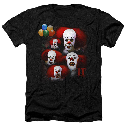Image for It Heather T-Shirt - 1990 Many Faces of Pennywise