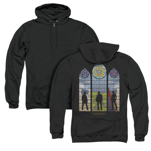 Image for Supernatural Zip Up Back Print Hoodie - Stained Glass