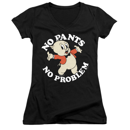 Image for Looney Tunes Girls V Neck T-Shirt - Porky Pig No Pants No Problem