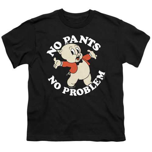 Image for Looney Tunes Youth T-Shirt - Porky Pig No Pants No Problem