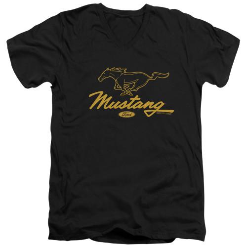 Image for Ford V Neck T-Shirt - Mustang Pony Script