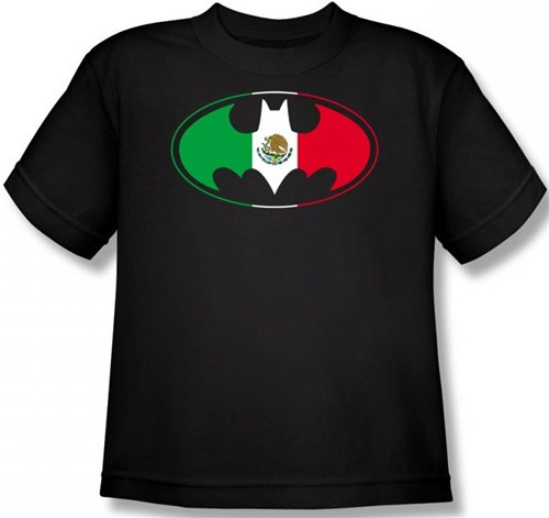 Image for Batman Youth T-Shirt - Mexican Flag Logo