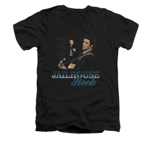 Image for Elvis V-Neck T-Shirt Jailhouse Rock n Roll