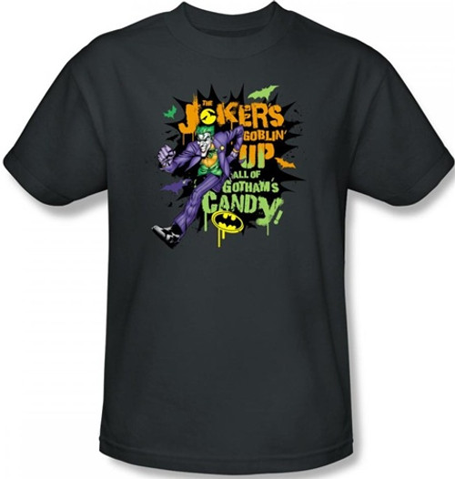 Image Closeup for Joker T-Shirt - Halloween Goblin Up all the Candy