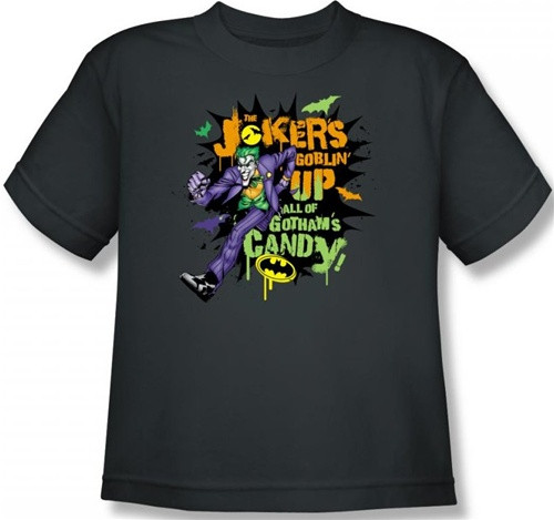 Image for Joker Youth T-Shirt - Halloween Goblin Up all the Candy