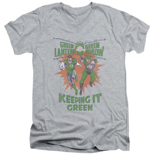 Image for Green Lantern V Neck T-Shirt - Keeping it Green