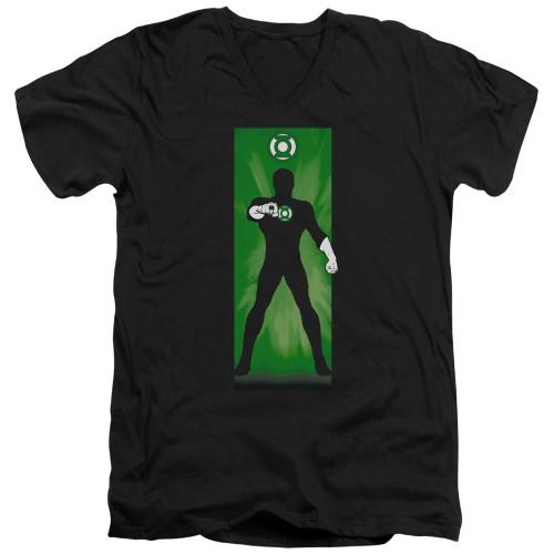 Image for Green Lantern V Neck T-Shirt - Green Lantern Block