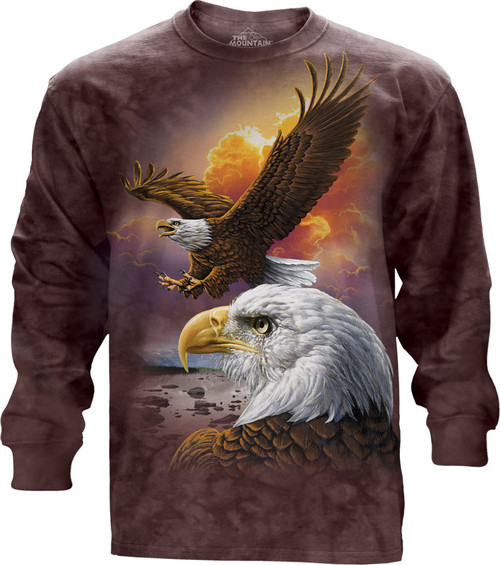 Image for The Mountain Long Sleeve T-Shirt - Eagle & Clouds