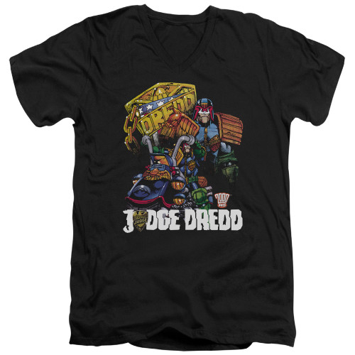 Image for Judge Dredd V Neck T-Shirt - Bike and Badge