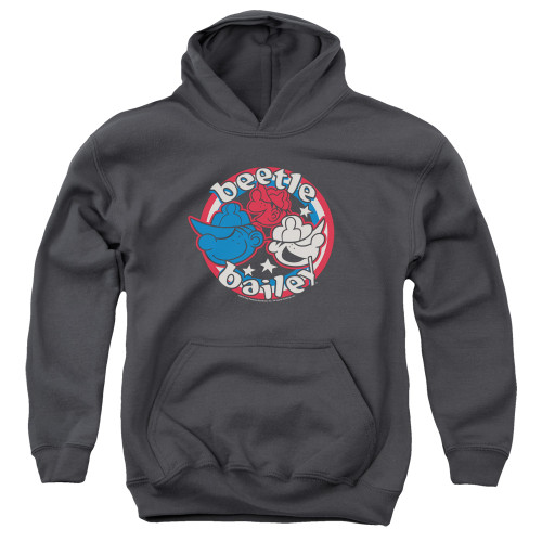 Image for Beetle Bailey Youth Hoodie - Red White and Bailey