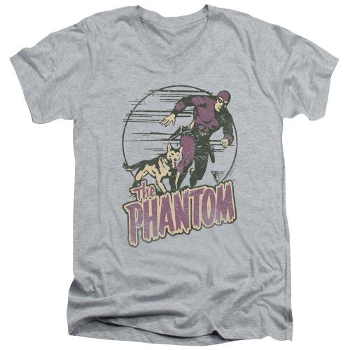 Image for The Phantom V Neck T-Shirt - Phantom and Dog