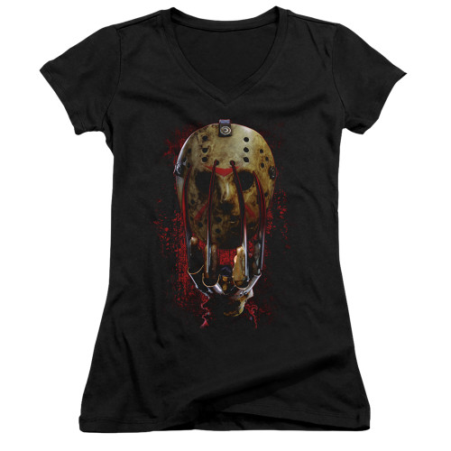Image for Freddy vs Jason Girls V Neck - Mask and Claws