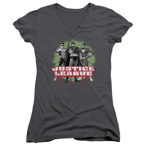 Image for Justice League of America Girls V Neck - JLA Trio