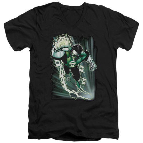 Image for Justice League of America V Neck T-Shirt - Emerald Energy