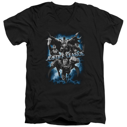 Image for Justice League of America V Neck T-Shirt - Justice Storm