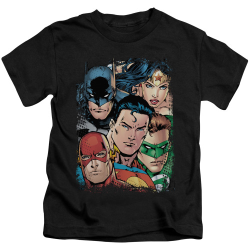Image for Justice League of America Up Close and Personal Kid's T-Shirt