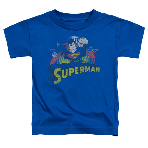 Image for Justice League of America Superman Rough Distress Toddler T-Shirt