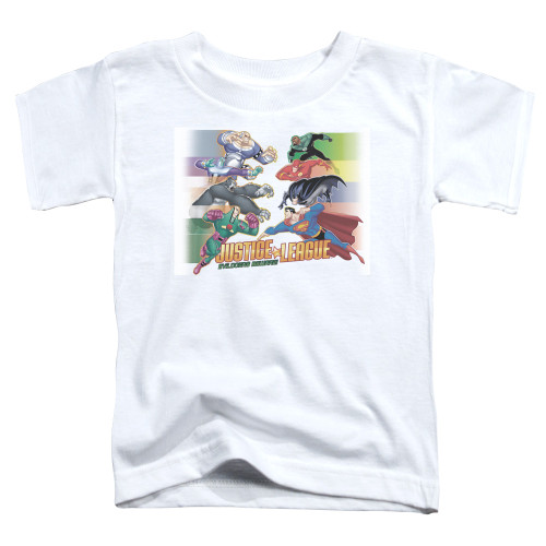 Image for Justice League of America Evildoers Beware Toddler T-Shirt