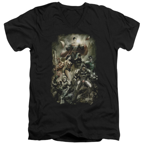 Image for Justice League of America V Neck T-Shirt - Aftermath