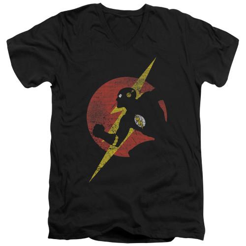 Image for Justice League of America V Neck T-Shirt - Flash Symbol Knockout