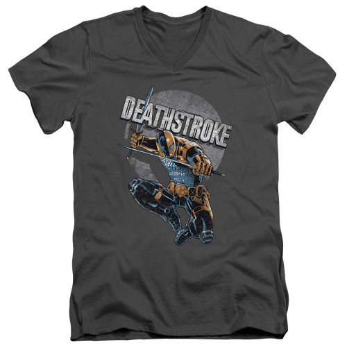 Image for Justice League of America V Neck T-Shirt - Deathstroke Retro