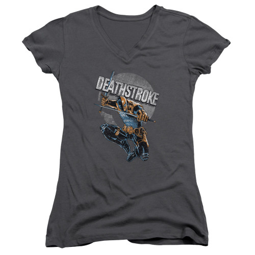 Image for Justice League of America Girls V Neck - Deathstroke Retro