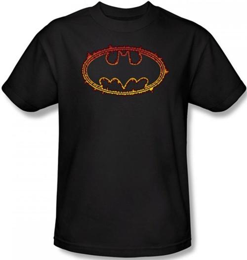 Image Closeup for Batman T-Shirt - Flame Outlined Logo