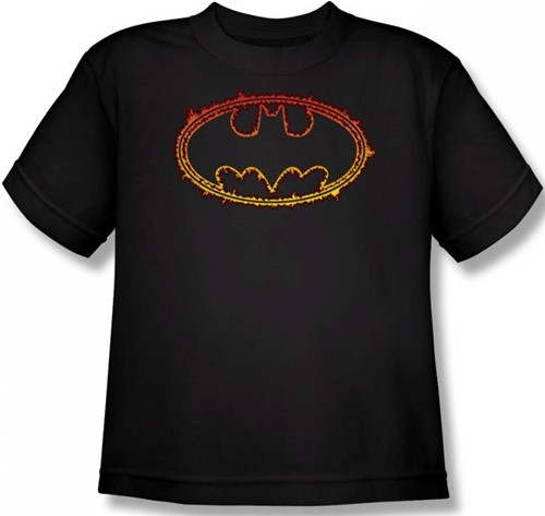 Image for Batman Youth T-Shirt - Flame Outlined Logo